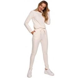 tekstylia Damskie Kombinezony / Ogrodniczki Moe M583 Knit Jumpsuit With A Patch Pocket - kremowy