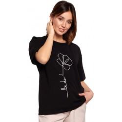 tekstylia Damskie Topy / Bluzki Be B187 T-shirt z nadrukiem w kwiaty - czarny