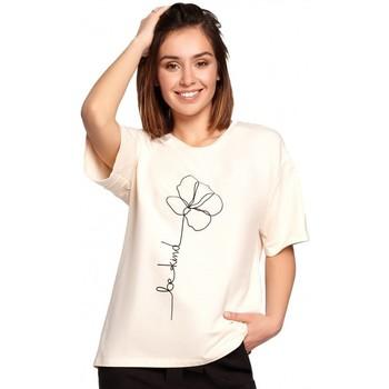 tekstylia Damskie Topy / Bluzki Be B187 T-shirt z nadrukiem w kwiaty - kremowy