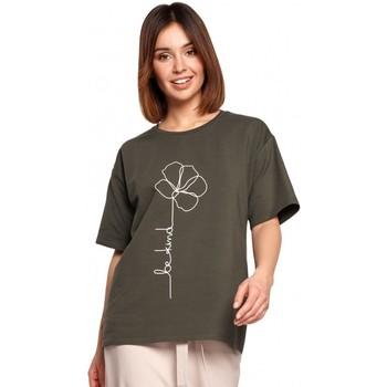 tekstylia Damskie Topy / Bluzki Be B187 T-shirt z nadrukiem w kwiaty - zieleń wojskowa