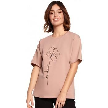 tekstylia Damskie Topy / Bluzki Be B187 T-shirt z nadrukiem w kwiaty - mocca
