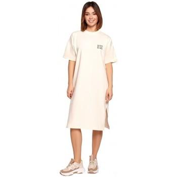 tekstylia Damskie Sukienki krótkie Be B194 Relaxed Fit T-shirt Dress - kremowy
