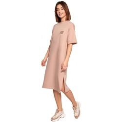 tekstylia Damskie Sukienki krótkie Be B194 Relaxed Fit T-shirt Dress - mocca