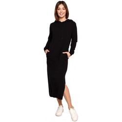 tekstylia Damskie Sukienki długie Be B197 Sukienka midi z kapturem - kremowa