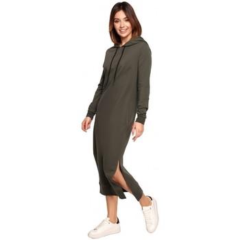 tekstylia Damskie Sukienki długie Be B197 Sukienka midi z kapturem - mocca