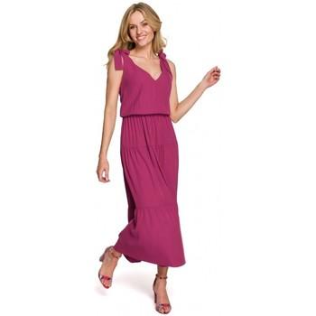tekstylia Damskie Sukienki długie Makover K092 Sukienka na ramiączkach - niebieski