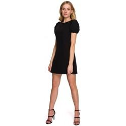 tekstylia Damskie Sukienki krótkie Makover K095 Mini sukienka z bufiastymi rękawami - krepa różowa