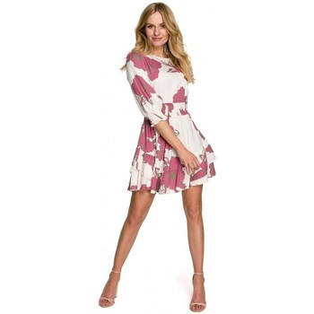 tekstylia Damskie Sukienki krótkie Makover K097 Sukienka skater z paskiem w talii - model 2