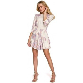 tekstylia Damskie Sukienki krótkie Makover K097 Sukienka skater z paskiem w talii - model 3