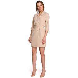 tekstylia Damskie Sukienki krótkie Style S254 Sukienka marynarska z paskiem z klamrą - czarna