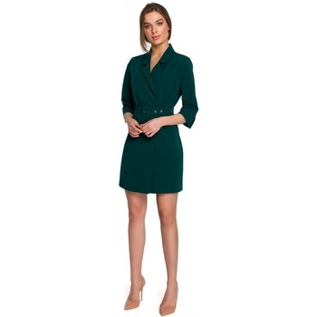 tekstylia Damskie Sukienki krótkie Style S254 Sukienka marynarska z paskiem z klamrą - królewski błękit