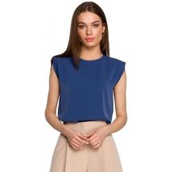 tekstylia Damskie Topy / Bluzki Style S260 Bluzka bez rękawów z wyściełanymi ramionami - niebieska