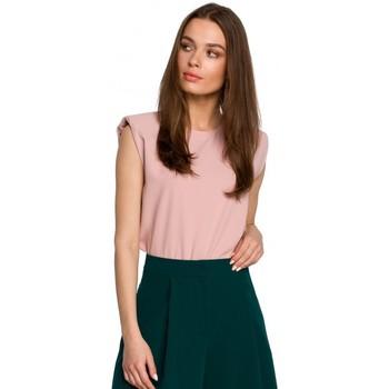 tekstylia Damskie Topy / Bluzki Style S260 Bluzka bez rękawów z usztywnionymi ramionami - pudrowy