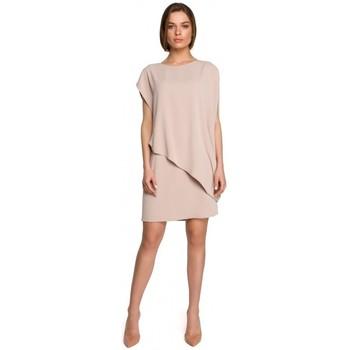 tekstylia Damskie Sukienki krótkie Style S262 Warstwowa sukienka - beżowa