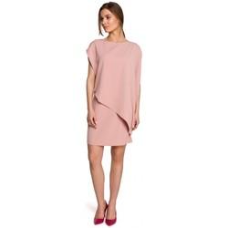tekstylia Damskie Sukienki krótkie Style S262 Sukienka warstwowa - pudrowa