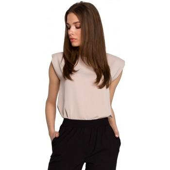 tekstylia Damskie Topy / Bluzki Style S260 Bluzka bez rękawów z wyściełanymi ramionami - beżowa