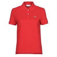 tekstylia Damskie Koszulki polo z krótkim rękawem Lacoste POLO REGULAR FIT PF7839 Czerwony