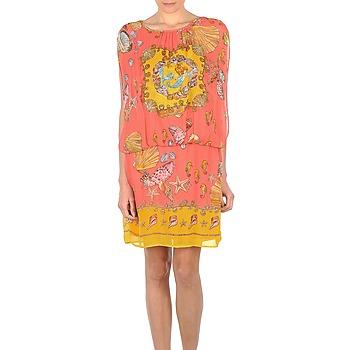 tekstylia Damskie Sukienki krótkie Derhy ACCORDABLE Różowy / żółty
