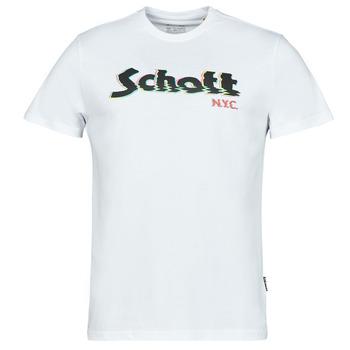 tekstylia Męskie T-shirty z krótkim rękawem Schott TSLOGOELEK Biały