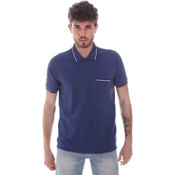 tekstylia Męskie Koszulki polo z krótkim rękawem Key Up 2Q827 0001 Niebieski