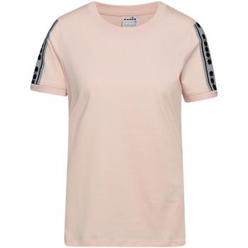 tekstylia Damskie T-shirty z krótkim rękawem Diadora 502175812 Różowy
