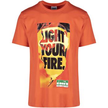 tekstylia Męskie T-shirty z krótkim rękawem Diadora 502175837 Pomarańczowy