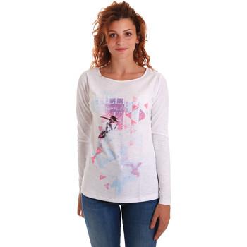 tekstylia Damskie T-shirty z długim rękawem Key Up 5G68S 0001 Biały