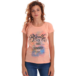 tekstylia Damskie T-shirty z krótkim rękawem Key Up 5D59S 0001 Pomarańczowy