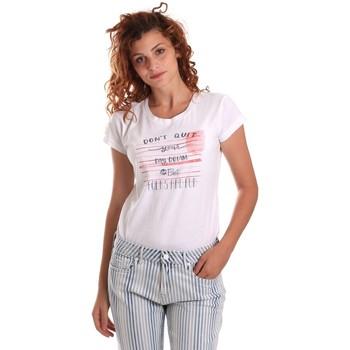 tekstylia Damskie T-shirty z krótkim rękawem Key Up 5K02S 0001 Biały