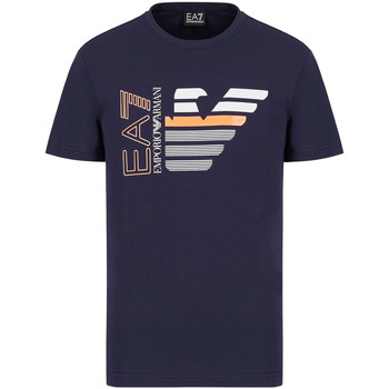 tekstylia Męskie T-shirty z krótkim rękawem Ea7 Emporio Armani 3KPT22 PJ6EZ Niebieski