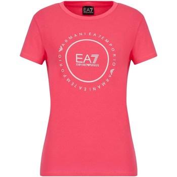 tekstylia Damskie T-shirty z krótkim rękawem Ea7 Emporio Armani 3KTT22 TJ1TZ Różowy