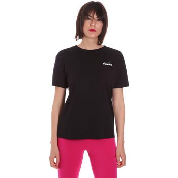 tekstylia Damskie T-shirty z krótkim rękawem Diadora 102175873 Czarny