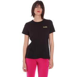 tekstylia Damskie T-shirty z krótkim rękawem Diadora 102175882 Czarny