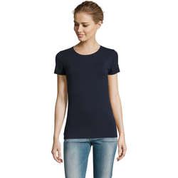 tekstylia Damskie T-shirty z krótkim rękawem Sols Camiserta de mujer de cuello redondo Azul