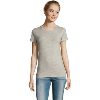 tekstylia Damskie T-shirty z krótkim rękawem Sols Camiserta de mujer de cuello redondo Gris