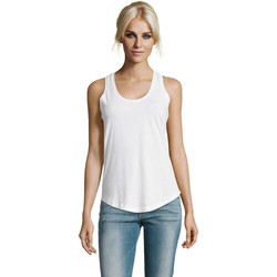 tekstylia Damskie Topy na ramiączkach / T-shirty bez rękawów Sols Moka camiseta mujer sin mangas Blanco
