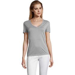 tekstylia Damskie T-shirty z krótkim rękawem Sols MOTION camiseta de pico mujer Gris