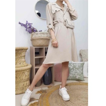 tekstylia Damskie Sukienki krótkie Fashion brands CD2293-BEIGE Beżowy