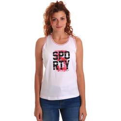 tekstylia Damskie Topy na ramiączkach / T-shirty bez rękawów Key Up 5G60S 0001 Biały