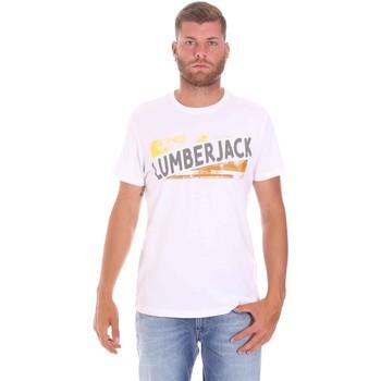 tekstylia Męskie T-shirty z krótkim rękawem Lumberjack CM60343 026EU Biały