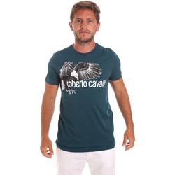 tekstylia Męskie T-shirty z krótkim rękawem Roberto Cavalli HST68B Zielony