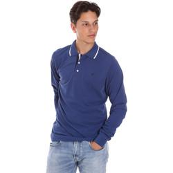 tekstylia Męskie Koszulki polo z długim rękawem Key Up 2L711 0001 Niebieski