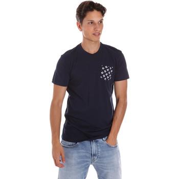 tekstylia Męskie T-shirty z krótkim rękawem Key Up 2S431 0001 Niebieski