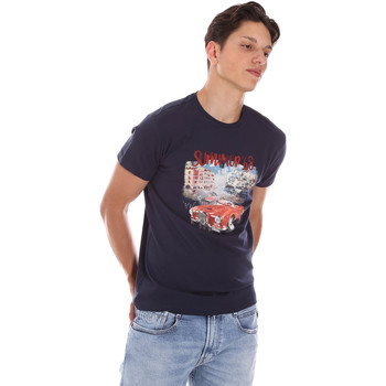 tekstylia Męskie T-shirty z krótkim rękawem Key Up 2S427 0001 Niebieski