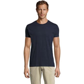 tekstylia Męskie T-shirty z krótkim rękawem Sols REGENT FIT CAMISETA MANGA CORTA Azul