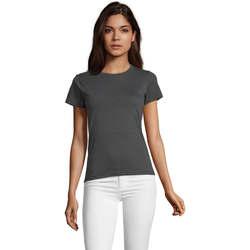 tekstylia Damskie T-shirty z krótkim rękawem Sols REGENT FIT CAMISETA MANGA CORTA Gris