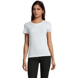 tekstylia Damskie T-shirty z krótkim rękawem Sols REGENT FIT CAMISETA MANGA CORTA Blanco