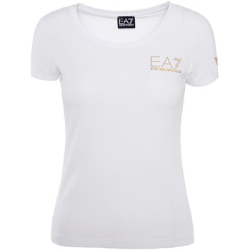 tekstylia Damskie T-shirty z krótkim rękawem Ea7 Emporio Armani 8NTT65 TJ28Z Biały