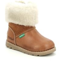 Buty Dziewczynka Śniegowce Kickers Chaussures bébé  Nonofur camel brillant