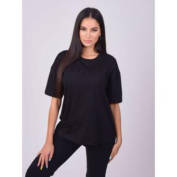 tekstylia Damskie T-shirty z krótkim rękawem Project X Paris T-shirt femme basic noir